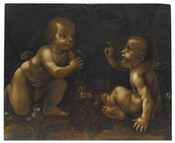 the meeting of christ and the infant saint john the baptist by leonardo da vinci