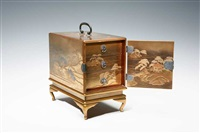 a maki-e incense drawer with the design of three most scenic spots in japan by hikobe nishimura