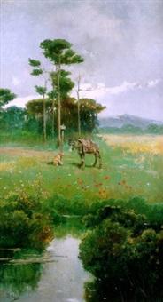 burrito y perro en un paisaje by josé arpa perea