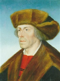 portrait of a gentleman wearing a fur trimmed hat and coat by hans maler