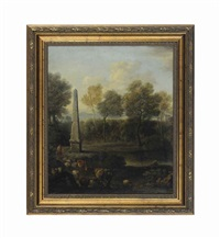 a pastoral landscape with an obelisk, shepherds, sheep and cows and untitled (2 works) by john wootton