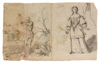 un homme et une femme en pied (+ 4 others; 5 works) by cornelis schut the elder