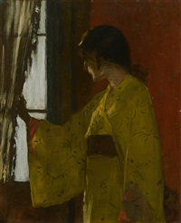 at the window by william merritt chase