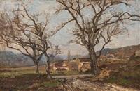sommerlandschaft mit einem bauerngehöft im hintergrund by louis alexandre cabié