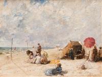 scène galante à la plage by max friedrich rabes