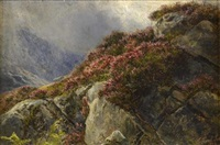 a heather covered rocky outcrop by james faed
