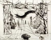 thinking aloud, small thoughts, stage set with serpent by william kentridge