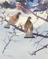 grouse and snow by frank weston benson