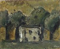 paesaggio con casa ed alberi by mario sironi