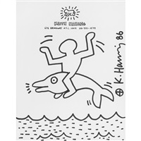 untitled (man on dolphin) by keith haring