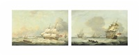 an east indiaman and other shipping in the downs off the north foreland (+ warships lying at anchor with one getting underway and another coming in to the anchorage (both illustrated); pair) by thomas luny