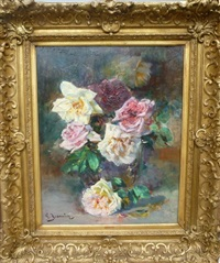 vase de roses by georges jeannin