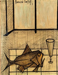 nature morte au poisson by bernard buffet