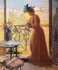 lady on the balcony, la parisienne by albert edelfelt
