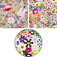 kaikai kiki and me - the shocking truth revealed/ maiden in the yellow straw hat/ flowerball brown (set of 3) by takashi murakami