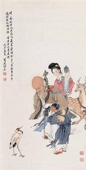 南极仙翁 镜心 设色纸本 (painted in 1985 the god of longevity) by liu lingcang