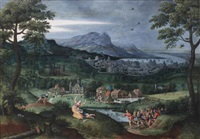 a mountainous river landscape with scenes from the life of samson by lucas gassel