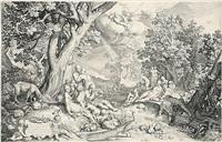 das goldene zeitalter (paradies) (after abraham bloemaert) by nicolaes de bruyn
