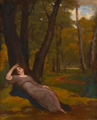 una sleeping in a wood by washington allston