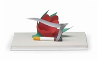 maquette for tulip and smoking cigarette by tom wesselmann