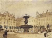 fontaine sur une place animée by louis-joseph grosset