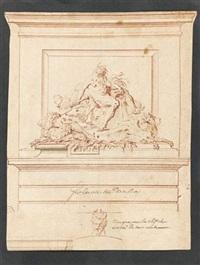 etude pour la fontaine de la rue du boulloy (+ etude d'un cavalier et d'un arbre; verso) by gilles-marie oppenort