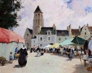 marché en bretagne by paul emile lecomte