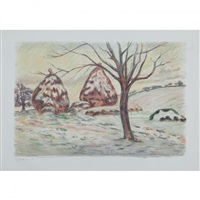 paysage aux meules, ou les meules en hiver a palaiseau by armand guillaumin