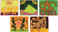 untitled 1-5 (the fertility suite) (set of 5) by keith haring
