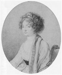 half-length protrait of a woman wearing a shawl by antoine louis françois sergent-marceau