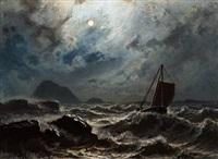 stürmische nacht ... küste norwegens by knud andreassen baade