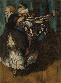 harlequinade, michel and vera fokine in the ballet carnaval by mikhail bobyshev