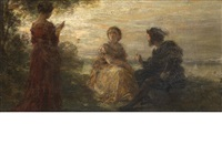 a sunset reading by henri fantin-latour