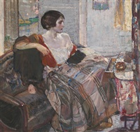 woman seated at a dressing table by richard edward miller