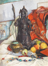 still life with oriental statue by romeo storck