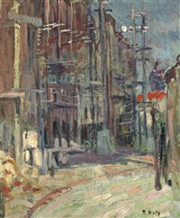 bâtiments, échafaudages, rue lepic by raoul dufy