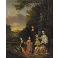 a portrait of a gentleman and his wife and their three children, possibly the loth family, near a statue of diana the huntress, in a classical landscape by jan le ducq