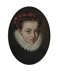 portrait of a lady, bust-length, in a white ruff, with flowers in her hair by sofonisba anguissola