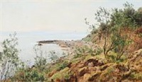 coastal scene from moesgaard beach by janus andreas barthotin la cour