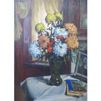 still life of flowers on a table by sander vago