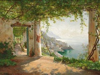 from a loggia in amalfi with a view of the coast by carl frederik peder aagaard