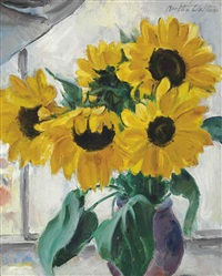 still life with sunflowers (recto) and young woman holding a child (verso) (2 works) by martha walter