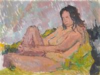 sitzender weiblicher akt mit angewinkeltem bein by otto niemeyer-holstein