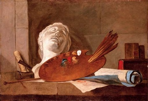 the attributes of painting and sculpture by jean baptiste siméon chardin