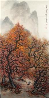 scroll painting of landscape by li xiongcai