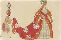 costume design for 'sleeping beauty': la dame d'honneur with her page by leon bakst