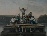 the jolly flat boat men by george caleb bingham