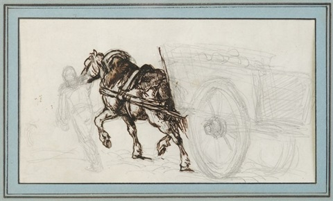roulier conduisant un chariot study for the coal waggon by théodore géricault