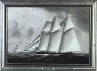 portrait of the top-sail schooner 'wanderer' by william gay yorke