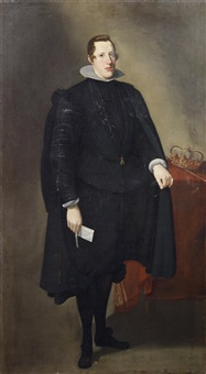 portrait of king philip iv of spain, full-length, in black costume with a crown on a draped table beside him by diego rodríguez de silva y velásquez
